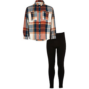 Girls coral check shirt leggings outfit