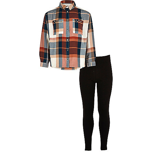 Girls coral checked shirt leggings outfit