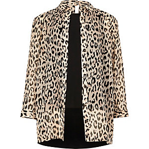 Girls cream animal print layered shirt
