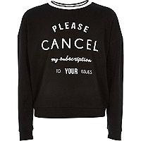 Girls black print sweatshirt