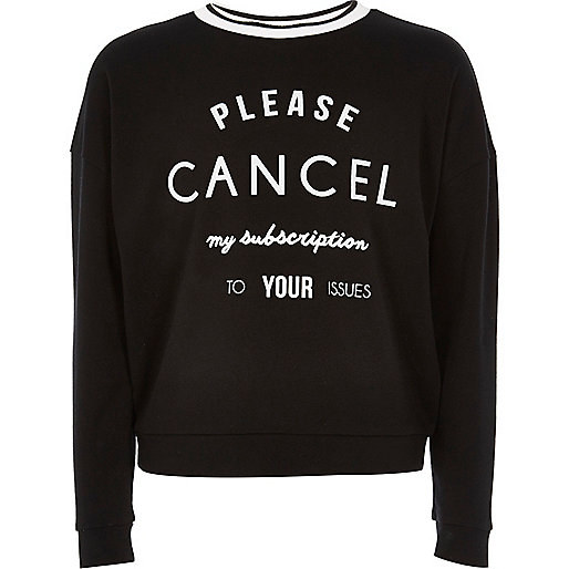 Girls black print sweatshirt