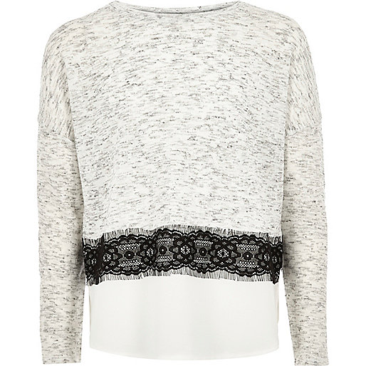 Girls grey lace panel jumper