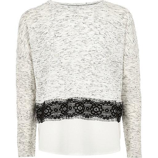Girls grey lace panel sweater