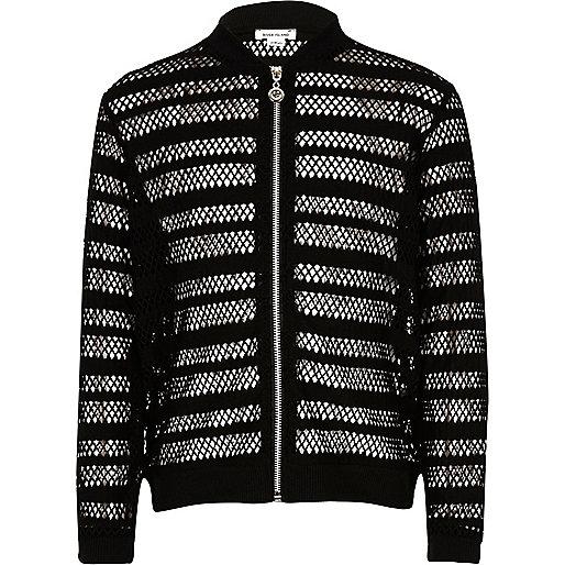 Girls black mesh bomber jacket