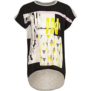 T-shirt à imprimé graphique noir pour fille