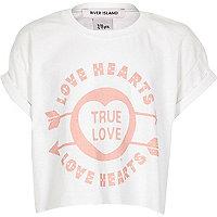 White Love Hearts print t-shirt