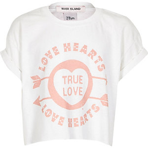 White Love Hearts print t-shirt
