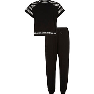 Girls black mesh t-shirt joggers outfit
