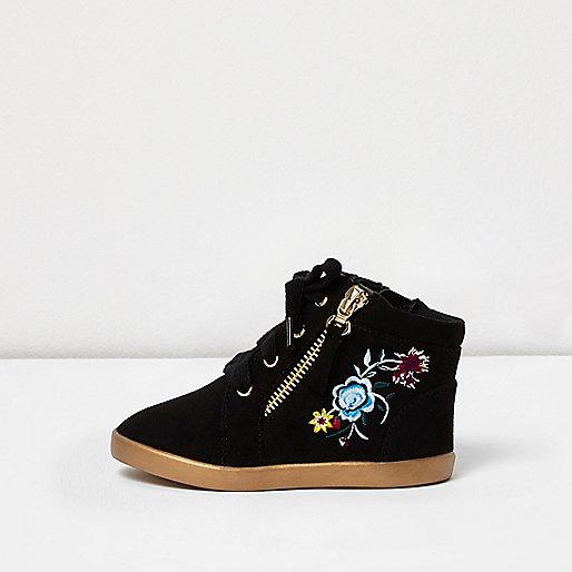 Mini girls black embroidered hi tops