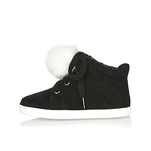 Mini girls black wedge pom pom hi tops