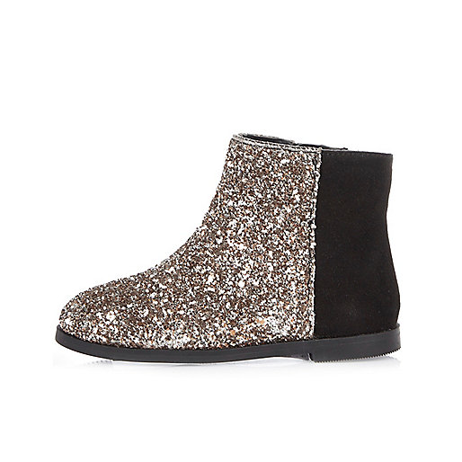 Mini girls silver glitter boots