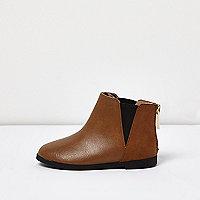 Mini girls tan Chelsea boots