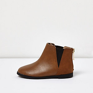 Mini girls tan Chelsea boots