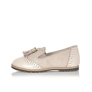Mini girls beige tassel loafers