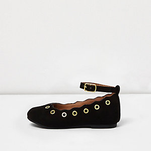 Mini girls black eyelet ballet flats