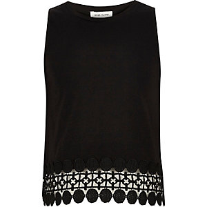 Girls black crochet hem tank top