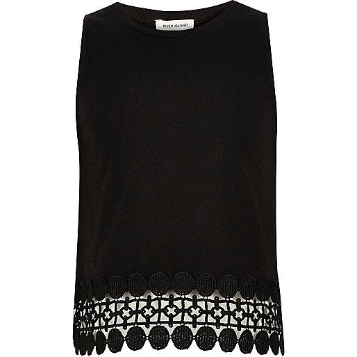 Girls black crochet hem tank top