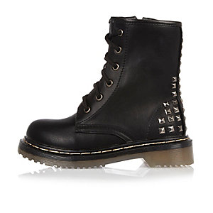 Girls black studded grunge boots