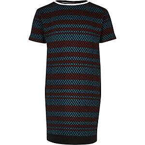 Gestreiftes T-Shirt-Kleid in Rot and Blau