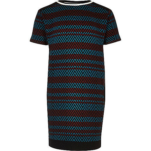 Girls red and blue stripe t-shirt dress