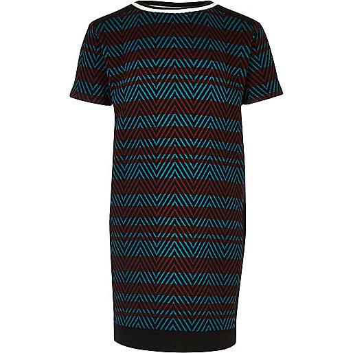 Robe t-shirt rayée rouge et bleue pour fille