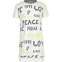 Girls white mesh graffiti T-shirt dress