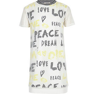 Girls white mesh graffiti print t-shirt dress
