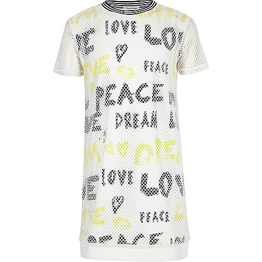 Girls white mesh graffiti T-shirt dress