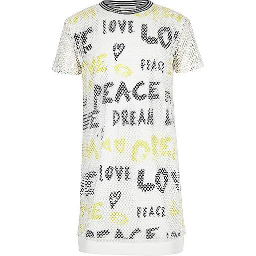 Robe t-shirt blanche en tulle avec graffiti pour fille