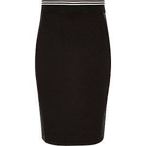 Girls black sporty side mesh tube skirt