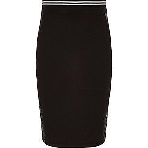Jupe fourreau sport noire avec tulle sur le côté pour fille