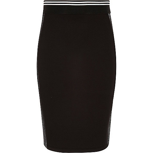 Girls black sporty side mesh tube skirt