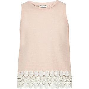 Girls light pink crochet hem tank top