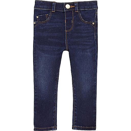 Jean skinny délavage bleu mini fille