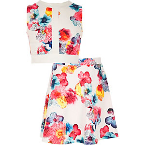 Girls white floral print top and skirt outfit