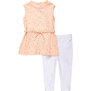 Mini girls coral tunic and leggings outfit
