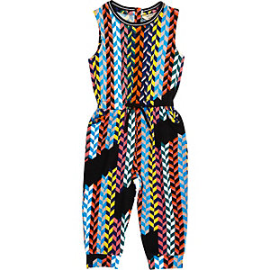 Mini girls multicoloured weave jumpsuit