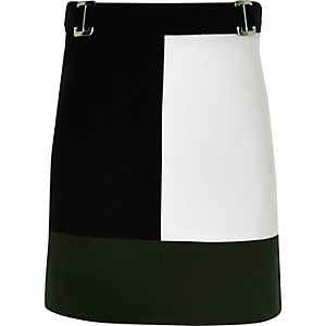 Girls black colour block A-line skirt