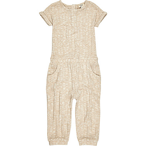 Mini girls oatmeal ribbed jumpsuit