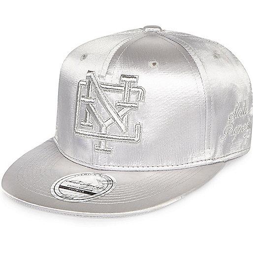 Girls silver metallic New York cap