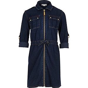 Girls dark wash belted denim dress