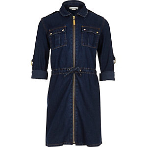 Girls dark wash belted denim dress