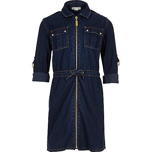 Robe en jean délavage foncé avec ceinture pour fille