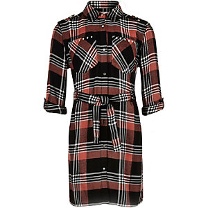 Girls pink checked shirt dress