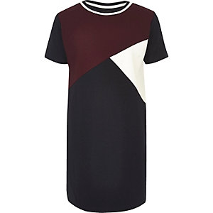 Girls dark red color block cocoon dress