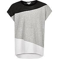 Girls grey colour block mesh t-shirt