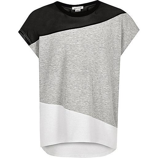 Girls grey color block mesh t-shirt