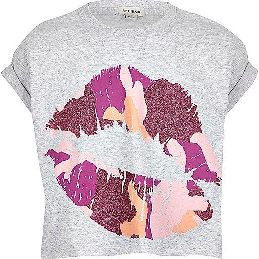 Girls pink lip print t-shirt