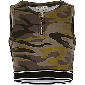Girls khaki camo crop top