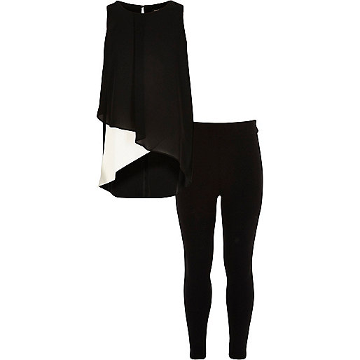 Girls black wet look leggings outfit